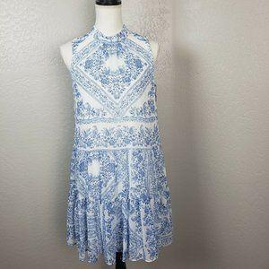 Calvin Klein Floral Chiffon Shift Dress Ruffle Hem